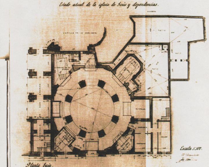 Plano de la Iglesia de Jesús antes de la construcción del Museo Salzillo, según plano del arquitecto José Tamés (1950)
