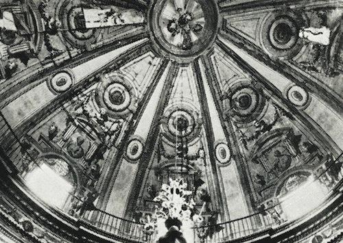 Antigua fotografía de la cúpula de la iglesia de Jesús antes de la restauración de Mariano Ballester