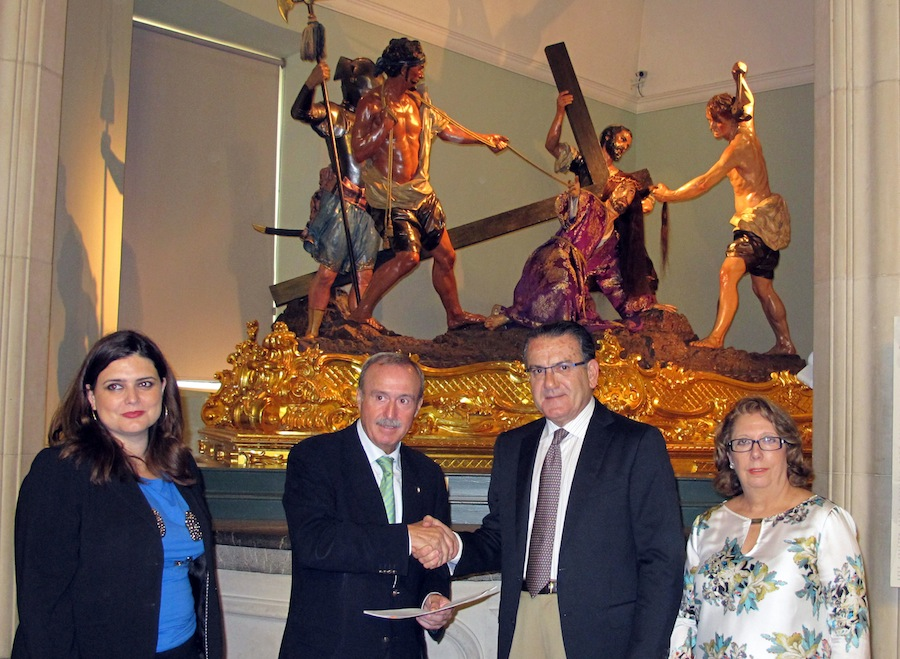 María Teresa Marín, Antonio Gómez Fayrén, Patricio Valverde y María Dolores Delicado en la firma del convenio Museo Salzillo-Iberdrola