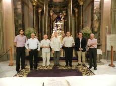 Representantes de la Pontificia Universidad Antonianum de Roma, con Michael Anthony Perry, Ministro General de la Orden Franciscana, con el Padre Riquelme, director del Instituto Teológico de Murcia y el profesor Manuel Pérez Sánchez.
